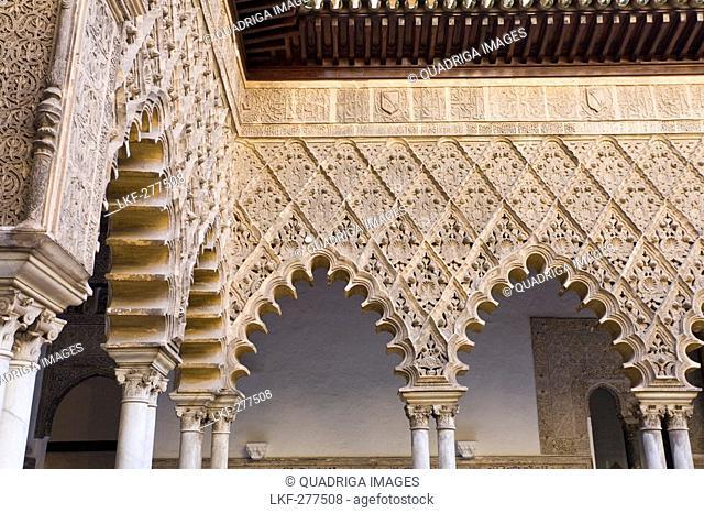 Royal palace, Reales Alcazares, Palacio de Pedro I, details, Sevilla, Province Sevilla, Andalucia, Spain