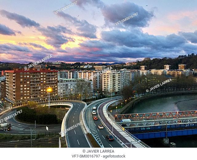 Bridge of the Real Sociedad over Urumea river, San Sebastian, Guipuzcoa, Basque Country, Spain