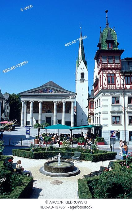 Fountain and pavement cafe at market square Dornbirn Austria Marktplatz