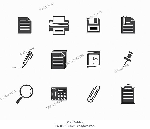 Office icons.Black icons isolated on a white background