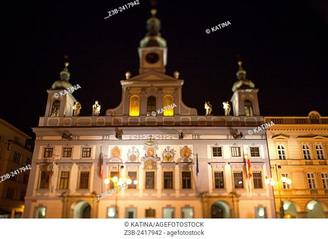 Market place and City Hall by Martinelli, 1727-30, on corner of Premysl Otakar II Square, Budweis, Ceské Budejovice, Cesky Budejovice, Bohemia, Czech Republic