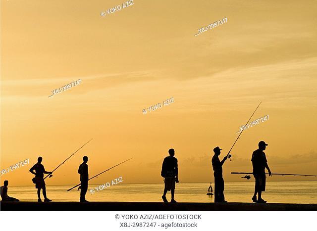 cuba, havana, sunset on the malecon, fishermen
