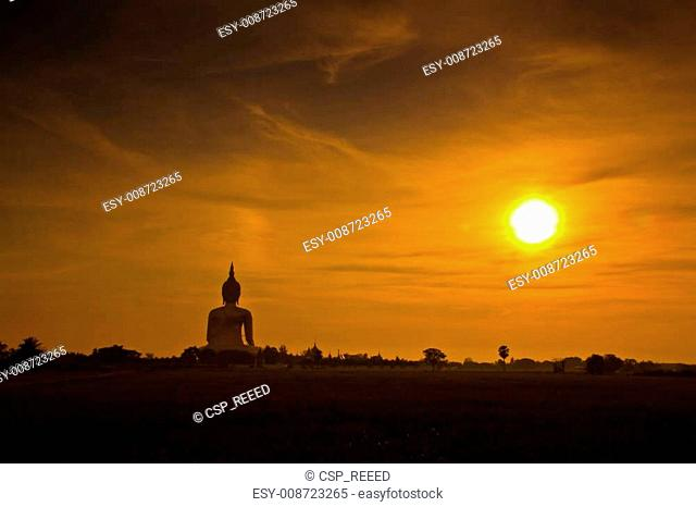 Big buddha statue in sunset thailand