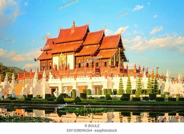Royal Flora Ratchaphruek Park, Royal Pavilion, landmark of Chiang Mai, Thailand