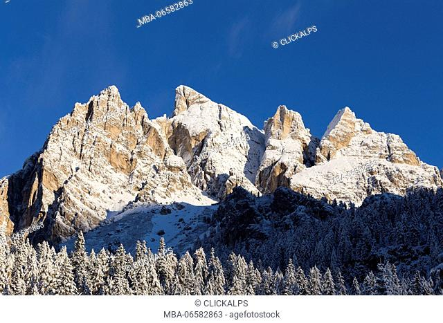 First snow on Peak Anna and Pomèdes Tower, Tofane group, Cortina d'Ampezzo, Belluno district, Veneto, Italy, Europe