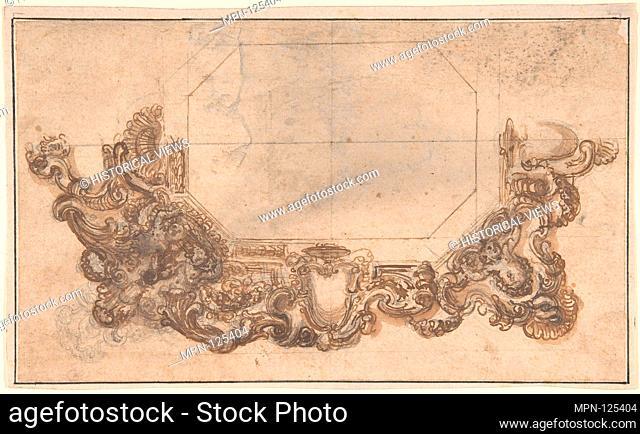 Right Half of Mirror Frame Design. Artist: Anonymous, Italian, 17th century; Date: 17th century; Medium: Pen and brown ink