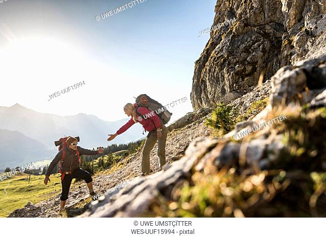 Couple hiking in the Austrian mountains