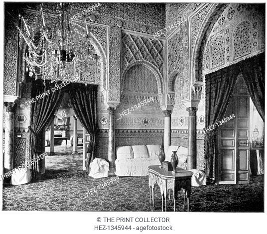 Salon of Maria de Padilla, Alcazar, Seville, Spain, late 19th century. The Alcazar was built over Moorish ruins during the 14th century for King Pedro of...