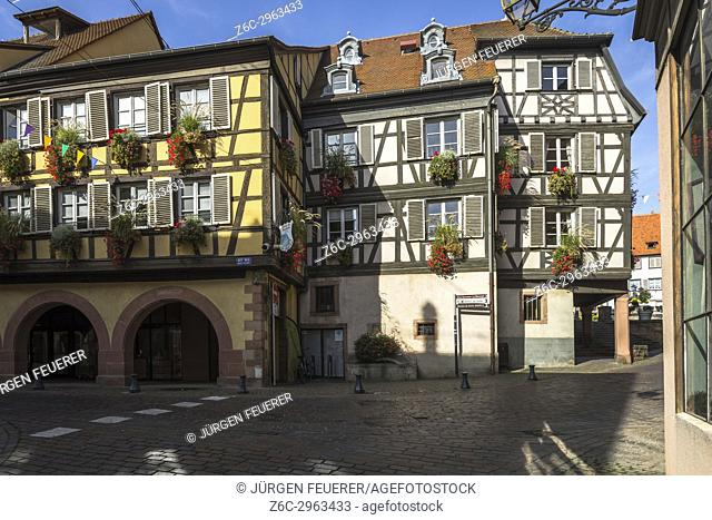 skew-whiff half-timbered houses in the village Barr, on the Wine Route of Alsace, France