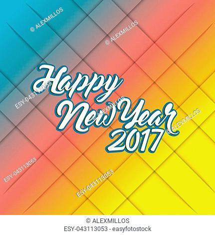 happy new year 2017 rainbow illustration design background
