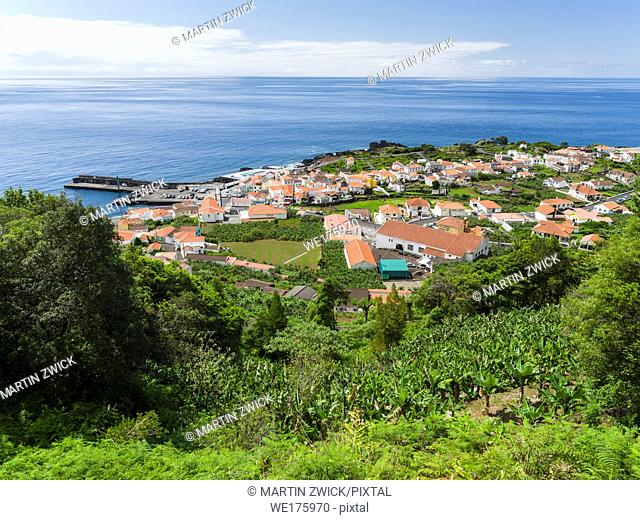 Village Ribeiras. Pico Island, an island in the Azores (Ilhas dos Acores) in the Atlantic ocean. The Azores are an autonomous region of Portugal