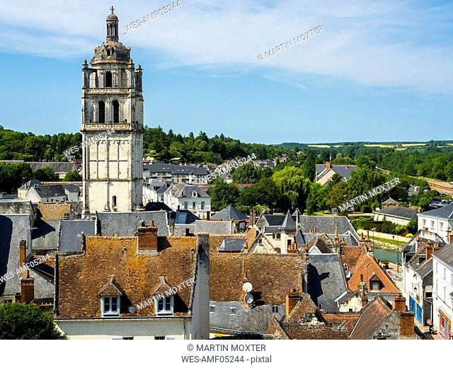 France, Loches, townscape with church tower