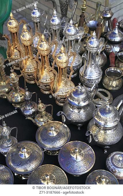 Uzbekistan; Bukhara; teaware, handicraft shop,