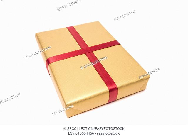 gift isolated, golden paper and red loop