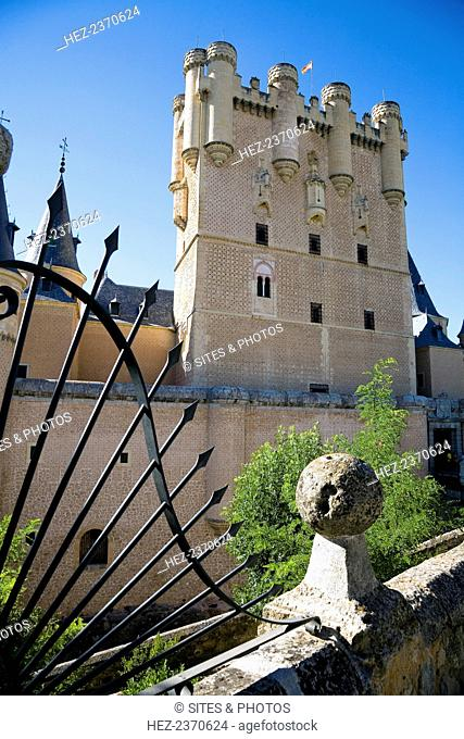 The East Tower (Tower of John II) of the Alcazar of Segovia, Segovia, Spain, 2007. During Juan (John) II's reign the East Tower was enlarged