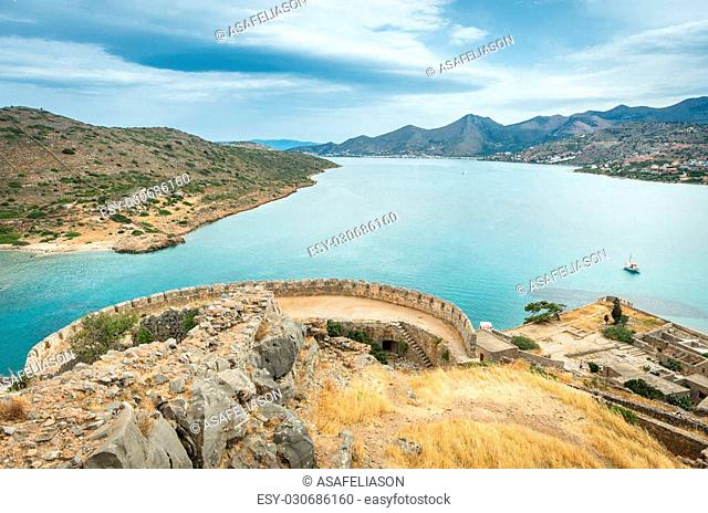 view from Spinalonga Island Fortress, Crete - Greece
