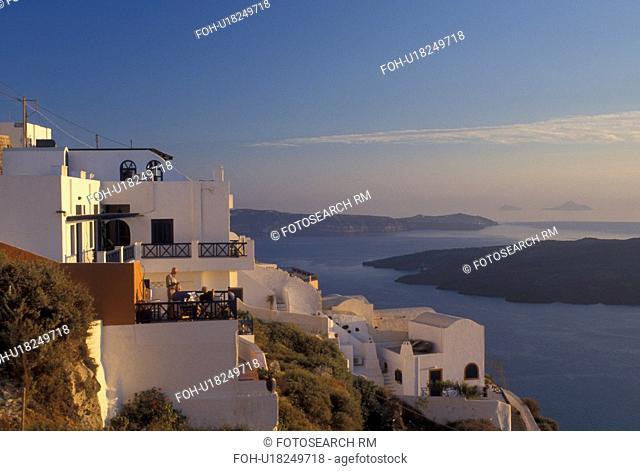 Santorini, Greek Islands, Firostefani, Cyclades, Greece, Europe, Village of Firostefani on the steep hillside of Santorini Island overlooking the Aegean Sea