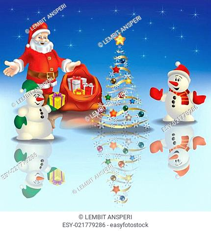Abstract Christmas greeting with Santa Claus and snowmen