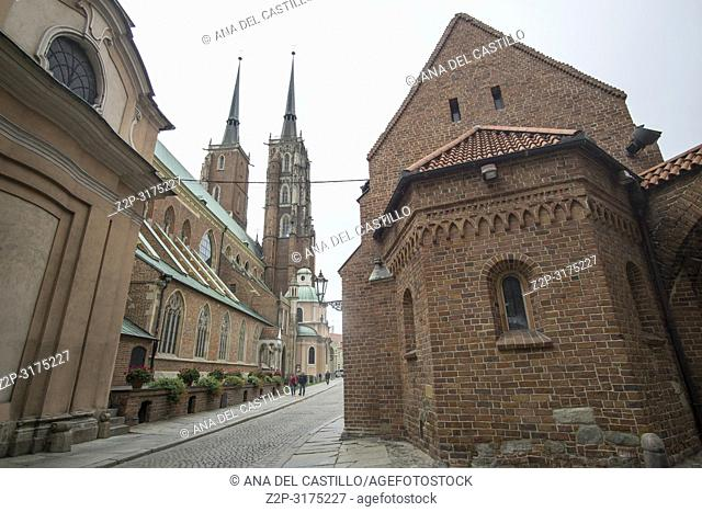St Giles church and Cathedral of St. John the Baptist in Wroclaw, Poland