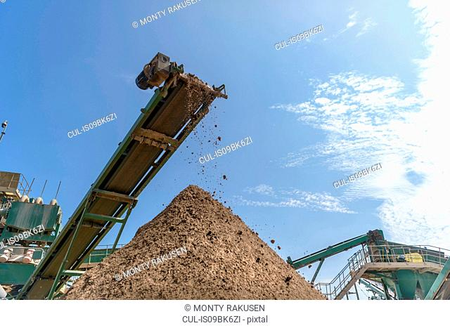Screened sand in concrete recycling site