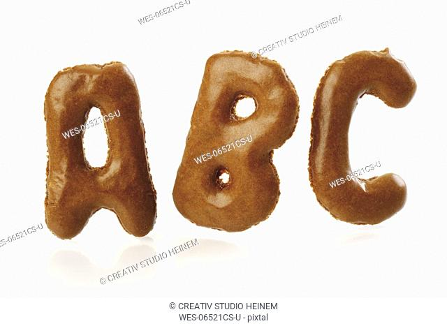 Pastry alphabet, close-up