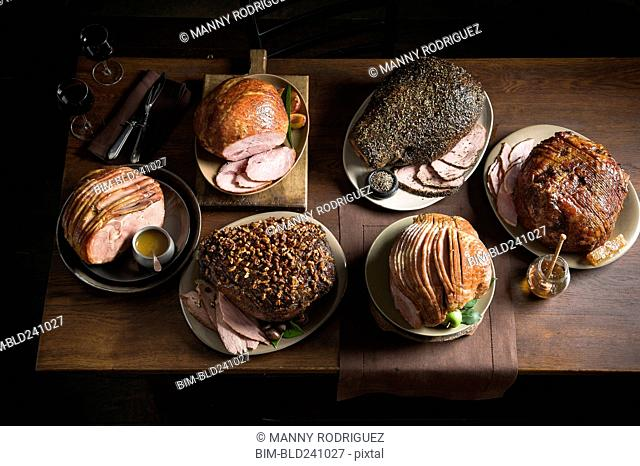 Buffet of variety of meat on table