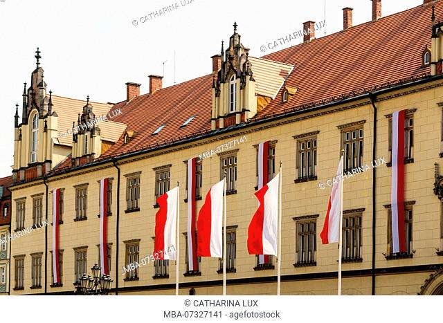 Poland, Wroclaw, old town, Rynek, Town Hall, Polish Flags