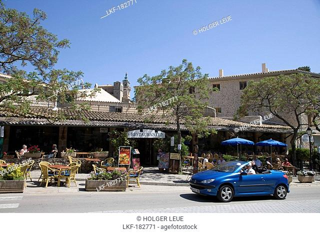 Blue Convertible and Outdoor Restaurant Seating, Valldemossa, Mallorca, Balearic Islands, Spain