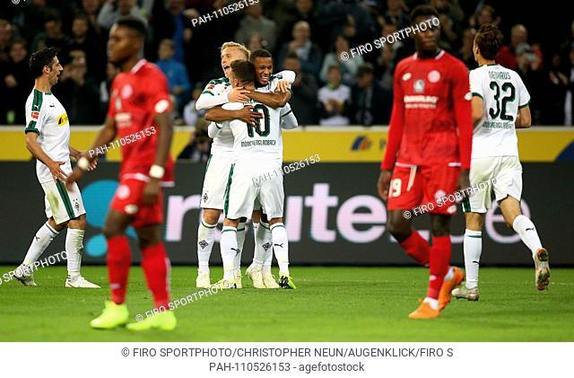firo: 21.10.2018, football, 1.Bundesliga, season 2018/2019, Borussia Monchengladbach - FSV FSV Mainz 05, goaljubel, jubilation, joy, Thorgan HAZARD