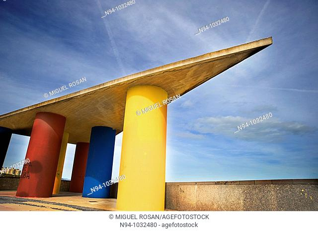 Decorative architectural element Malvarrosa beach of Valencia. Comunidad Valenciana. Spain