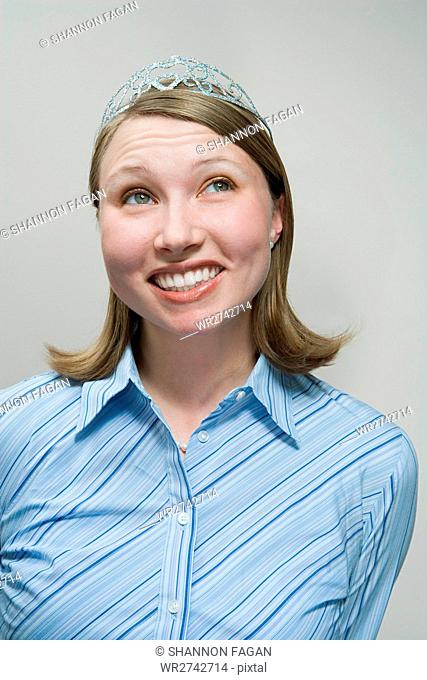 Office worker wearing tiara