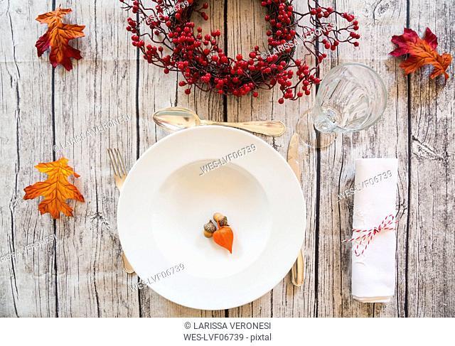 Autumnal laid table