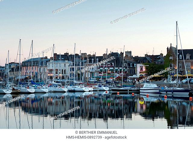 France, Cotes d'Armor, Paimpol, harbour and Quai Morand on a Summer evening