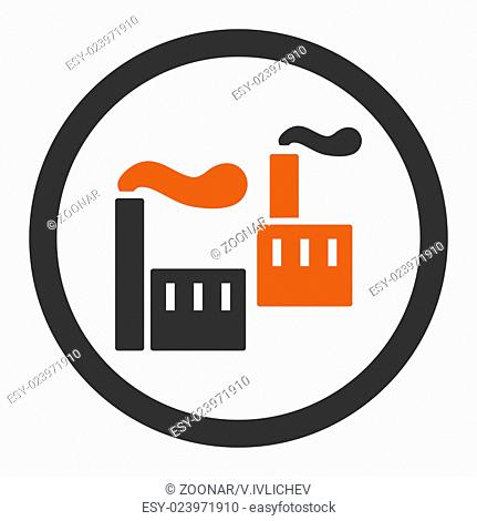 Industry flat orange and gray colors rounded vector icon