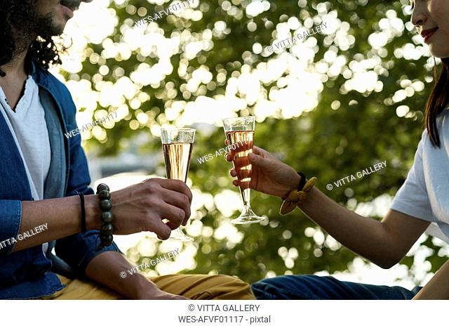 Close-up of couple clinking champagne glasses at a tree