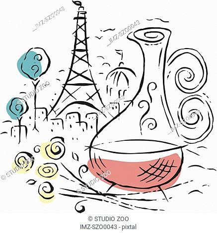 Illustration of wine in Paris, with the Eiffel Tower as the backdrop