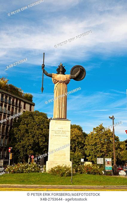 Statua della Minerva, Piazzale Minerva, Pavia, Lombardy, Italy