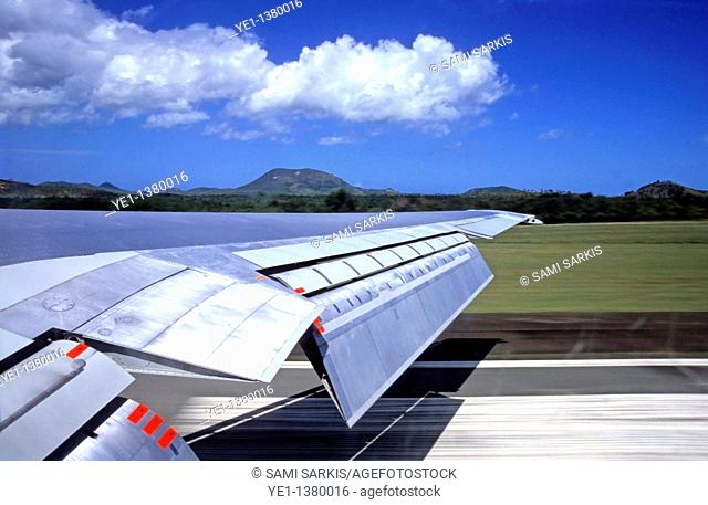 Airplane taking off from La Tontouta International Airport, Nouméa, New Caledonia
