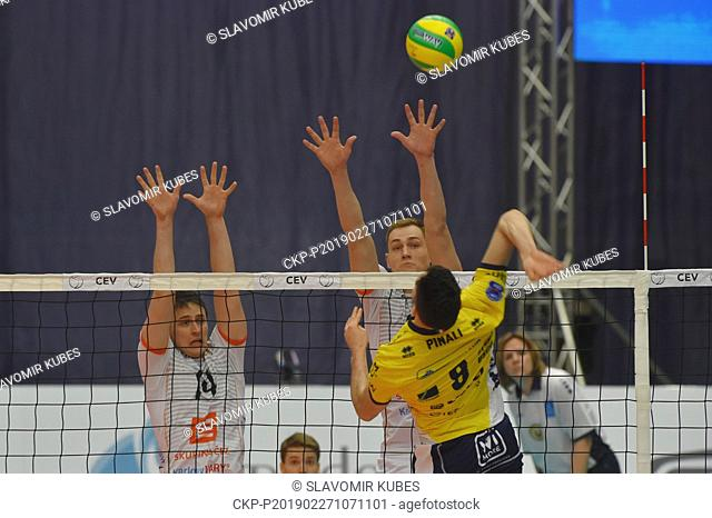 L-R Vojtech Patocka, Marek Zmrhal (both Karlovy Vary) and Giulio Pinali (Modena) in action during the 6th round group B of volleyball Champions League match...