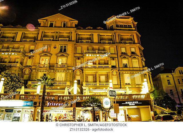 Outside the Remisens Hotel Palace Bellvue at night in Opatija, Croatia