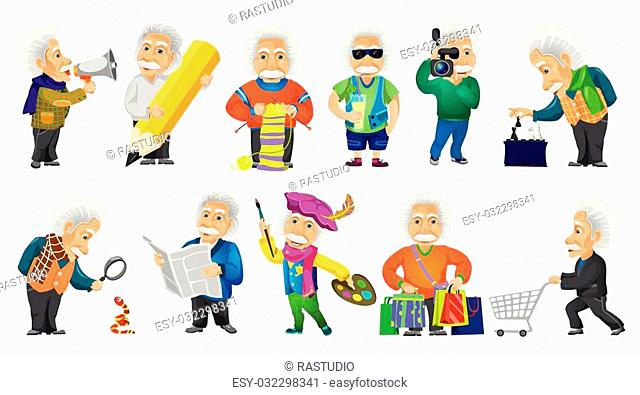 Vector set of old man shouting in megaphone, using magnifier, knitting a scarf, drinking cocktail, playing chess, doing shopping, reading newspaper