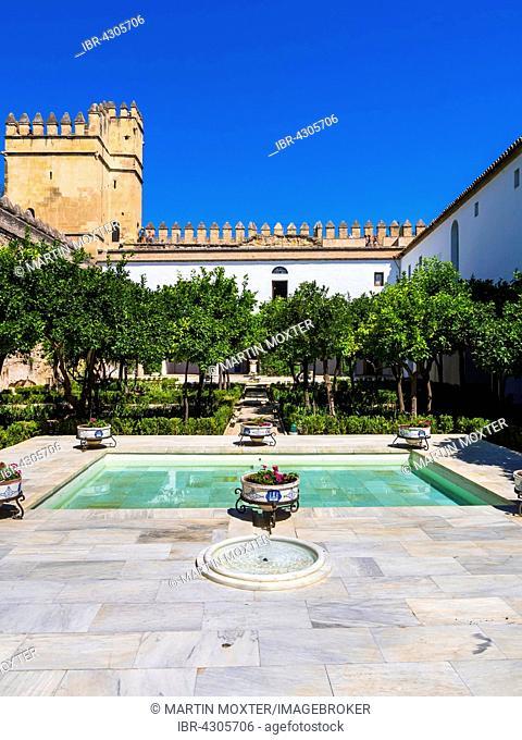 The gardens of Alcázar de los Reyes Cristianos, residence Alcazar, Córdoba province, Andalucía, Spain