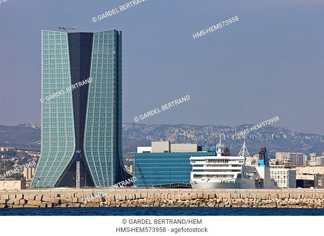 France, Bouches du Rhone, Marseille, Euromediterranee district, Port of Marseille, Tour CMA-CGM by the architect Zaha Hadid