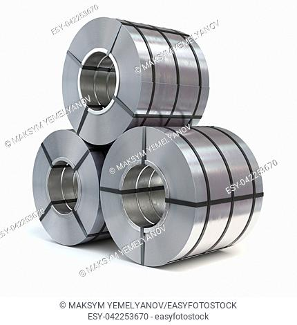 Rolls of rolled steel sheet isolated on white background. Production, delivery and storage of metal products. 3d illustration