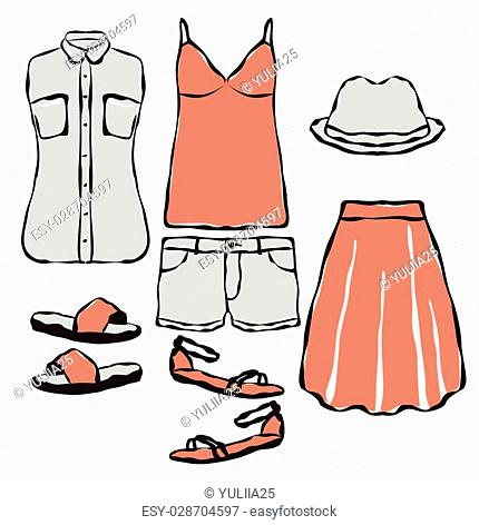 Fashion wardrobe objects set. Casual summer clothes for girl