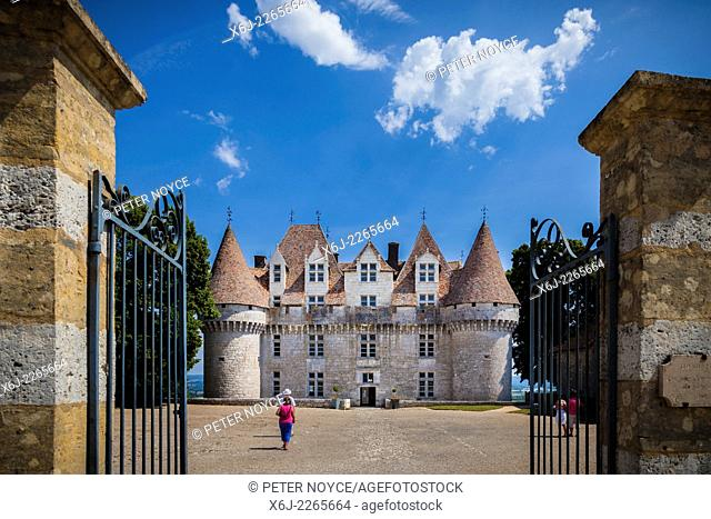 Gates to the courtyard and main entrance of the Chateau de Monbazillac France