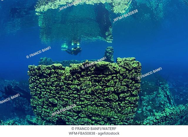 scuba diver between walls of the underwater mills, Lago di Capo d'Acqua, Abruzzo, Italy