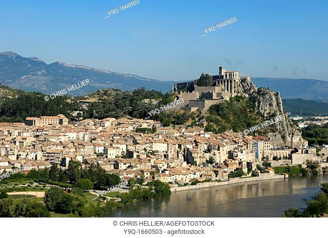 View over Sisteron Citadel Old Town and Durance River Alpes-de-Haute-Provence Provence France