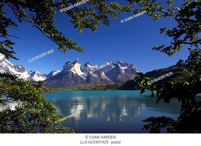 View over Lake Pehoe of Cuernos del Paine, Torres del Paine National Park, Patagonia, Chile, South America