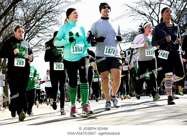 Joggers, South Boston, St. Patrick's Day Road Race, South Boston, Massachusetts, USA